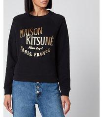 maison kitsuné women's sweatshirt palais royal - black - m