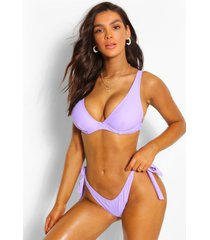 mix & match fuller bust underwire tie bikini top, lilac