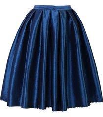 dark blue glossy a line ruffle skirt women taffeta high waist pleated midi skirt