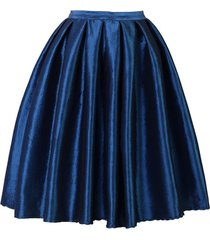 dark blue glossy a line ruffle skirt women taffeta high waist pleated midi skirt
