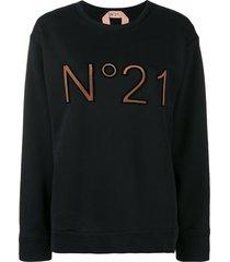 nº21 logo printed loose sweatshirt - black