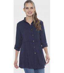 blusa corte en la cintura azul curvi