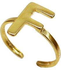 anel letra f liso regulável banhado a ouro 18k