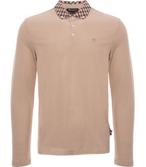 aquascutum coniston long sleeve polo shirt - beige tgaf-18w-bfim-bge