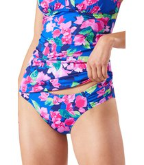 tommy bahama bougainvillea reversible gathered bikini bottoms, size x-large in beaming blue rev at nordstrom