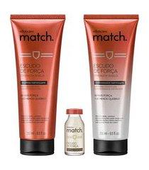 combo match força: shampoo, 250 ml + condicionador, 250 ml + ampola, 15 ml