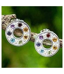 multigemstone chakra earrings, 'chakra honor wheel' (thailand)