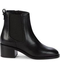 jordana stack heel leather booties