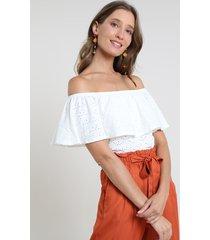 blusa feminina ciganinha em laise manga curta off white