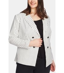 1.state plus size striped double-breasted blazer