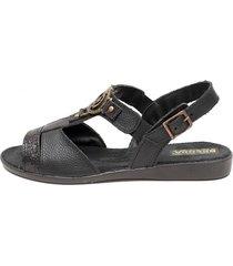 sandalia de cuero negra valentia calzados india