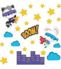adesivo de parede animais super heroãnas 25un - multicolorido - menina - dafiti