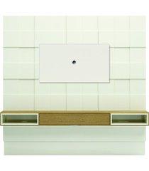 painel quadriculado 3d com sobre painel e led tb126l pradel off white com carvalho
