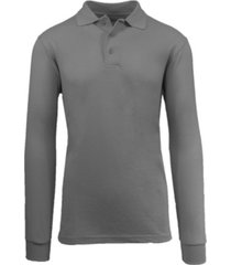 galaxy by harvic men's long sleeve pique polo shirt