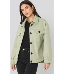 na-kd front pocket oversized jacket - green