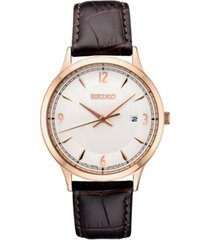 seiko men's essential brown leather strap watch 40.4mm