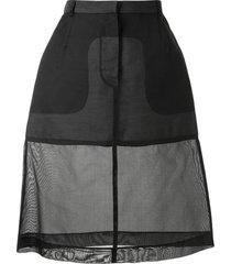 louis vuitton pre-owned semi-sheer a-line skirt - black