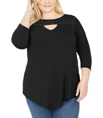 belldini plus size studded keyhole top