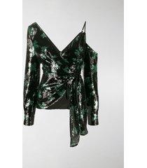 self-portrait sequined leaf pattern blouse