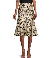 caara women's kitty print flare skirt - leopard - size l