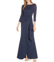 women's eliza j techno scuba pleat evening dress, size 0 - blue