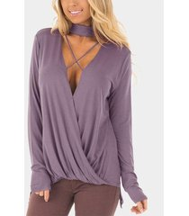 zanzea camisa de corte bajo con gargantilla para mujer blusas con cuello en v cruzado blusa asimétrica suelta púrpura -púrpura