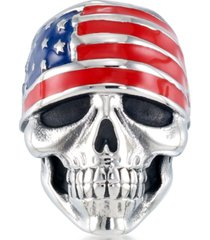 andrew charles by andy hilfiger men's enamel skull ring in stainless steel