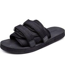 sandalias de playa antideslizantes para hombre, negras y negras.