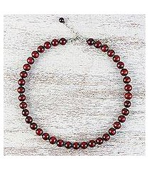 wood and hematite beaded necklace, 'soothing serenity' (thailand)