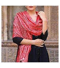 wool shawl, 'strawberry paisley' (india)