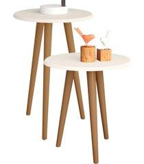 conjunto para sala de estar decorativo lyam decor mesa apoio e lateral off-white