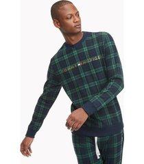 tommy hilfiger men's lounge sweatshirt deep navy/green plaid check - xxl