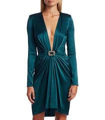 deep v-neck stretch silk cocktail dress