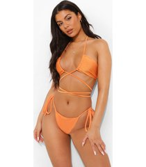 tropicana bikini broekje met zijstrikjes, orange