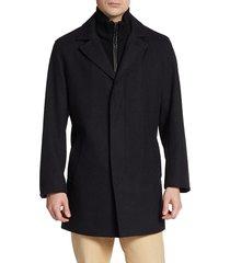 cole haan men's solid wool-blend coat - black - size m