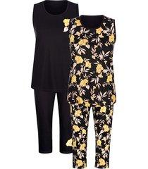 pyjama's per 2 stuks blue moon zwart::wit::geel