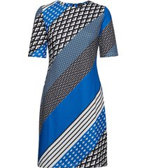 dress knitted fabric jurk knielengte blauw taifun