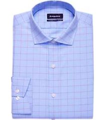 esquire light blue & red plaid slim fit dress shirt