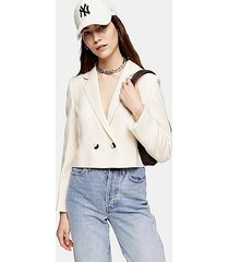 ivory crop double breasted suit blazer - ivory