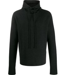 bottega veneta drawstring knitted hoodie - black