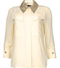 blouse met metallic kraag toxic  naturel