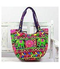 embroidered tote handbag, 'elephant flower in blue-violet' (india)