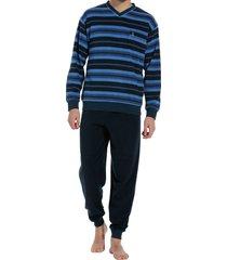 robson heren pyjama v-hals blauw