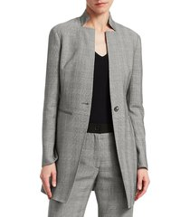 akris punto women's prince of wales stretch wool blazer jacket - grey - size 12