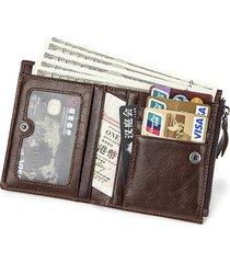 6 portafogli portafoglio verticale dell'annata del cuoio genuino del sacchetto di moneta per gli uomini