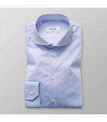 eton heren overhemd licht signature twill super slim fit blauw