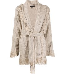 alanui virgin wool tassel knit wrap cardigan - brown
