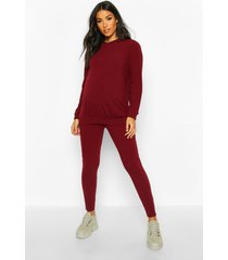 maternity soft rib hoody + legging lounge set, wine