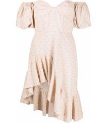 giuseppe di morabito polka dot-embroidered drop-shoulder dress -