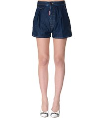 dsquared2 dark blue cotton midi shorts